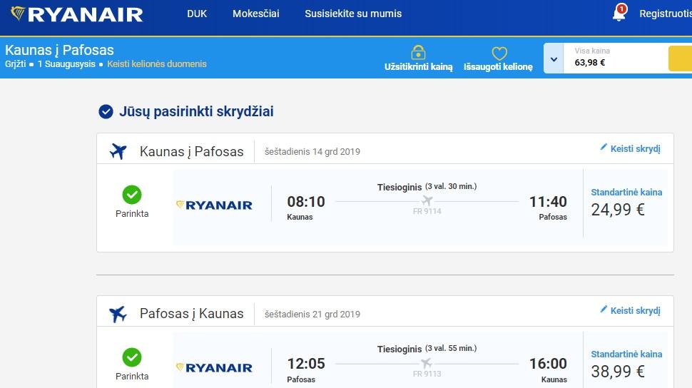 Ryanair pigus skrydis į Kiprą