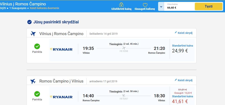 Skrydis į Romą su Ryanair bilietai.